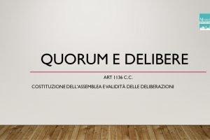 Quorum e Delibere